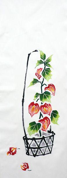 Japanese washcloth, Tenugui 【堀井】手ぬぐい「ほおずき」~ホオズキ市~