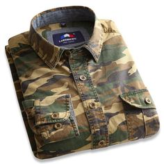 Langmeng 100% Cotton outwear Men's Long Sleeve Casual Camouflage Shirt Men dress shirt Military Tactical Hunt Army Clothing