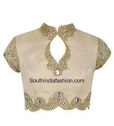 Pearl Work High Neck Blouse, Latest high neck blouse designs 2017