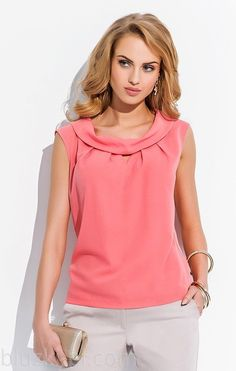 Sweet red blouse with double folded collar