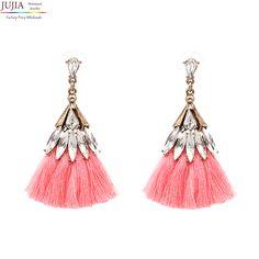 JUJIA 6 colors crystal cotton tassel earrings fashion women statement dangle drop Earrings for women Fringing earrings jewelry