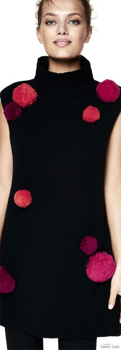 ZAC Zac Posen R-17: black knitted dress with pink pom poms.