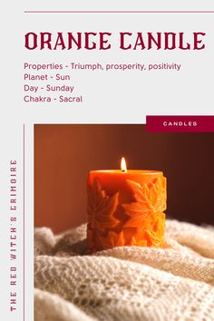 Orange Candle Meaning and uses - Orange candles symbolize prosperity and triumph. They are a combination of yellow (mental clarity) and red (success), so you have the best of these worlds. Use orange candles to attract triumph, prosperity, business and career success. Burn an orange candle for any ritual or spell that requires strength and ability to overcome or for positive attraction. | Click to see the best-selling magic spell orange candles (+ reviews and why people love them). Candle Magic, Candle Spells, Candle Set, Candle Jars, Wiccan Rede, Pagan, Orange Candles, Candle Meaning, Magic Crafts
