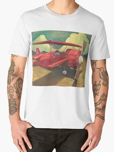 Flight T-shirt by tank Great gifts for pilots and plane lovers! Hand made wooden red bi-plane.