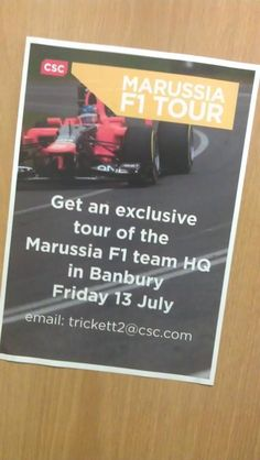 Marussia F1 Team / Do you work in the CSC Banbury office and fancy having a tour round the Marussia F1 Team HQ in Banbury Friday 13th July? http://on.fb.me/PHI0YK