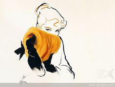 Rene Gruau Fashion Sketches for Dior