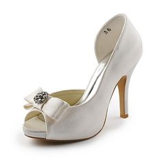 Satin Women's Wedding Stiletto Heel Peep Toe Sandals With Bowknot(More Colors) - USD $ 59.39 http://www.brides-book.com
