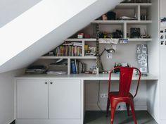 Trendy under stairs storage desk spaces Ideas Attic Bedroom Designs, Attic Rooms, Attic Spaces, Stair Storage, Desk Storage, Desk Under Stairs, Garage Renovation, Loft Room, Craftsman Style House Plans