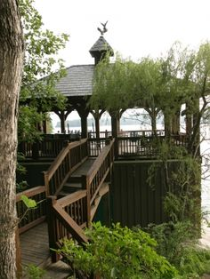 Boat house, view from lot facing toward lake - Harrison Design Associates Projects