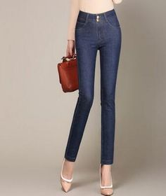 42.99$  Watch here - http://aliazj.worldwells.pw/go.php?t=32779103248 - Pencil pants for women plus size denim jeans casual slimming cotton blend autumn spring high waist new fashion trousers yyf0605 42.99$