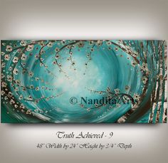 LARGE OIL PAINTING Abstract Wall Art, Teal Turquoise Painting on Canvas Wall Decor, Original Painting Flower Painting, Modern Art by Nandita Arts ==========================================================&#...