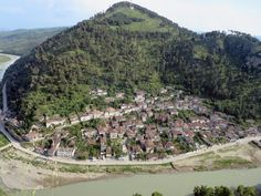 The Gorica neighbourhood across the Osum river from central Berat, Albania, preserves its medieval character. Albania, Preserves, Medieval, The Neighbourhood, Dolores Park, Southern, River, Character, Preserve