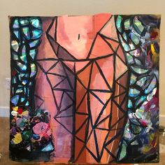 Made by me Chelsea Buchanan made of #multimedia #cds #paintsamples #cardboard #acrylicpaint #art #painting #sex #feministart #colors #geometric #geometricshapes #cubism #layers #abstract #abstractart