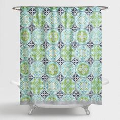 In aqua, blue and green, our shower curtain lends cool-toned vibrancy to your bathroom decor with its mosaic tile design.