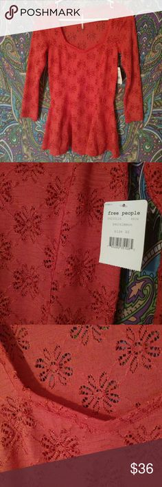 NWT Free People Knit Top Gorgeous coral colored knit top by Free People. New with tags. Size X-Small. Free People Tops Blouses
