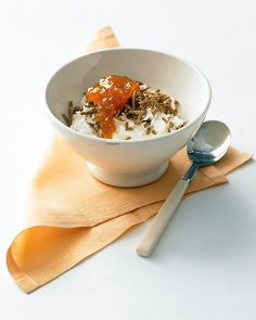 Cottage Cheese with Apricot Jam and Bran Cereal - a light but filling way to kick off the day