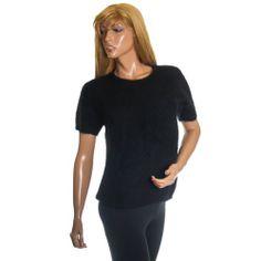 45% Angora Sweater Rafaella Fuzzy Cozy Fluffy Beaded Pin Up Black Womens Small