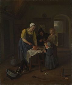 Jan Steen: 'A Peasant Family at Meal-time ('Grace before Meat')' c. 1665