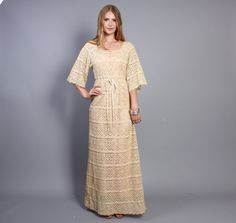 70s CROCHET MAXI DRESS / Ivory Sheer CutOut by luckyvintageseattle, $165.00