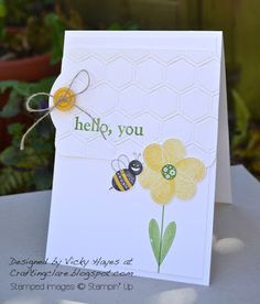 Stampin' Up ideas and supplies from Vicky at Crafting Clare's Paper Moments: Bug Me for bees, flowers, leaves, hearts...