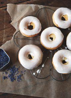 lemon doughnuts with lavender glaze