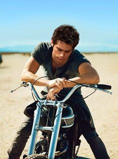 Dylan O'Brien on a motorcycle
