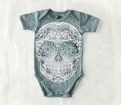 Faded Grey Skull Bodysuit 6 9 12 month Distressed by BonesNelson