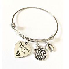 Mommy to Be, Pregnancy Announcement Love Bangle Bracelet, Baby Shower Gift