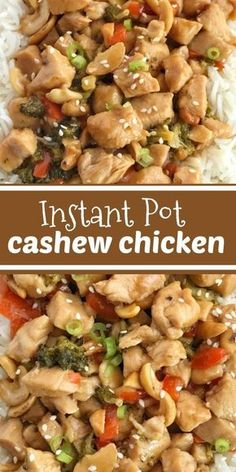Instant Pot Cashew Chicken ~ chunks of chicken breast, broccoli, red pepper, and cashews smothered in a delicious homemade sauce and cooks up quick in the instant pot! Yummy Chicken Recipes, Healthy Recipes, Recipe Chicken, Instapot Recipes Chicken, Cashew Recipes, Keto Recipes, Chinese Food Recipes Chicken, One Pot Recipes, Delicious Recipes