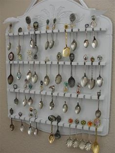 "Spoon Collection, I have one.... think I will paint the rack a light color to help make the spoons ""pop"""