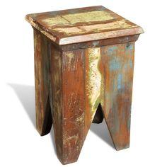 #Reclaimed #Wood #Stool #Vintage #Style #Seat #Antique #Short #Chair #Footstool #Handmade
