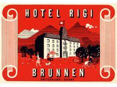 Swiss Modern luggage label - Hotel Rigi  Brunnen Switzerland