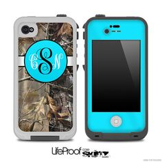 Real Camouflage V3 with Turquoise Monogram Skin for the iPhone 4/4s or 5 LifeProof Case