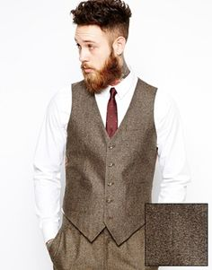 Discover tweed suits at ASOS. Shop for the latest range of tweed jackets, tweed blazers & tweed coats, tweed vests and pants. Available today at ASOS. Gilet Costume, Mens Suits Online, Light Blue Dress Shirt, Herringbone Vest, Chevrons, Brown Suits, Vest Outfits, Groomsmen Outfits, Boyfriends