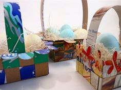 Canasta de papel para huevos de pascua