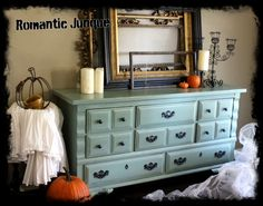 Painted Furniture. Vintage dresser made by Broyhill Premier custom refinished in teal blue with light distressing.