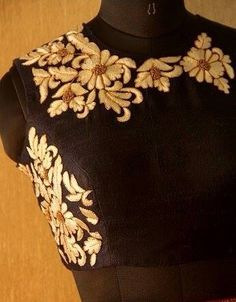 High neck black,embroidered blouse !