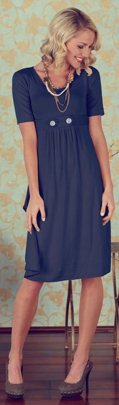 Super cute modest dresses - Jen Clothing. Wish it was easier to find dresses like this. Knee length, high cut collar, and has sleeves (length doesn't matter as long as shoulders are covered).