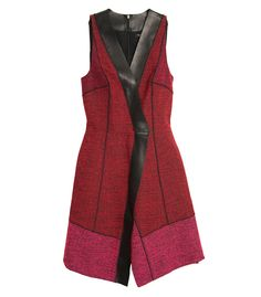 Code Red: Go Bold in Fiery Hues with Onyx Accents at #ShopBAZAAR - Proenza Schouler Leather and Tweed Wrap Dress