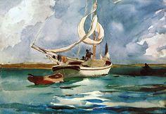 """""""Sloop aux Bermudes"""", aquarelle de Winslow Homer (1836-1910, United States)"""