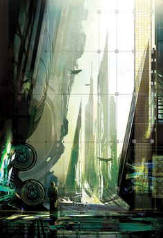 Cover painting by Stephan Martiniere for Multireal, by David Louis Edelman (2008)