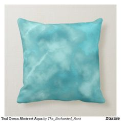 Teal Ocean Abstract Aqua Throw Pillow. This beautiful modern teal green and aqua abstract design is great for living rooms and other living spaces.  Brighten up a room with this modern design! #decoratingwiththrows #throwpillowsdecorative #pillowthrow #decorativethrowpillows #tealdecor #tealhome