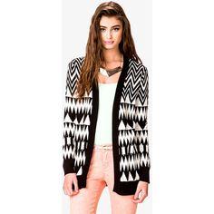 FOREVER 21 Oversized Zigzag Cardigan ($25) ❤ liked on Polyvore
