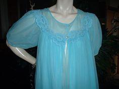 Vintage 60s AQUA Turquoise Chiffon by PoshLillyVintageGarb on Etsy, $29.99