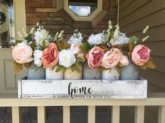 This is one of my absolutely favorite pieces!!! I truly went all out to fill each and every mason jar with the fullest and vibrant flowers!!! What better way to greet a guest in your home with this custom centerpiece. This piece hold at least 3-4 different flowers in every single mason