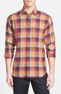 Men's Robert Talbott 'Anderson' Classic Fit Check Linen Sport Shirt