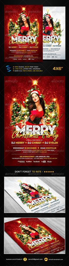 """Merry Christmas Party Flyer Template #GraphicRiver Merry Christmas Party Flyer Features : Suitable for Clubs & Event. Easy to modify & Edit Tittle, Image, Text & Elements. :)) 2 PSD files, Adobe Photoshop CS3, Full Layered Size """"4×6"""" inchi, with 0.25 bleed CMYK Color, 300 dpi, Print Ready Well Organized, Guide lines, All Text Editable Model & Font Used, Link in Package download Font Used, Link in Package download fontfabric /intro-free-font/ fontfabric /nexa-free-font/ .myfonts…"""