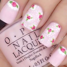 Nails by Kayla Shevonne: Summer Floral Nail Art Chic Nail Designs, Beautiful Nail Designs, Pink Nail Art, Floral Nail Art, Rose Nails, Flower Nails, Shabby Chic Nails, Rose Nail Design, Pretty Nail Art