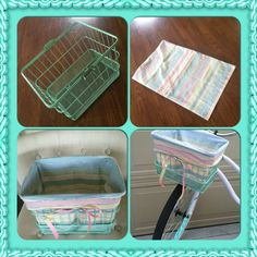 My 5 minute no-sew bike basket liner. Take an old pillow case, fold it in half, tuck in the excess, place in the basket and fold over. Voila, a double-sided liner! Embellish with a bow