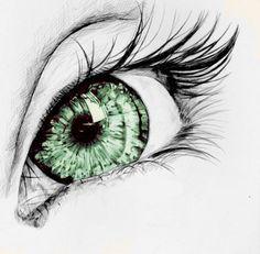 eye art green drawn